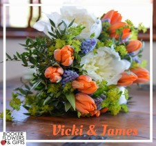 Bright Spring Wedding Flowers at Liverpool Cricket Club