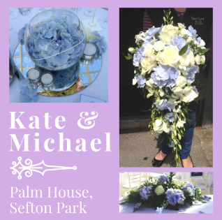 Liverpool Palm House Wedding Blue Hydrangeas White Roses
