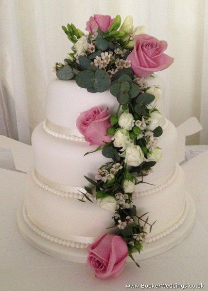 Wedding flowers liverpool merseyside bridal florist booker dusky pink rose wedding cake decoration side view save mightylinksfo