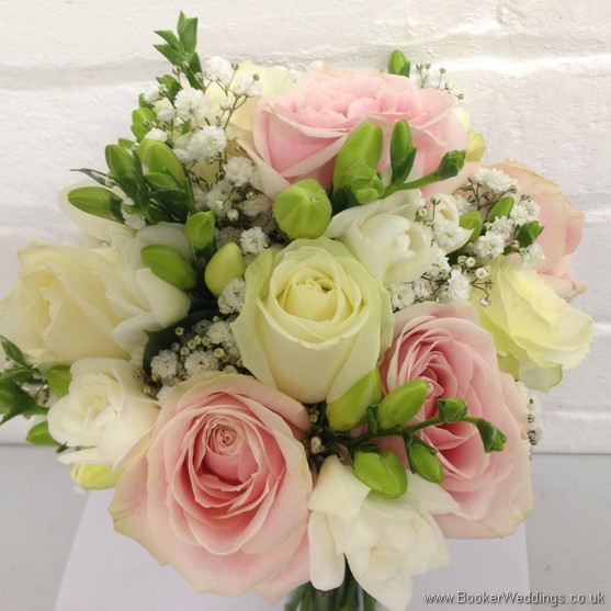 5254b193ff White, Cream and Pink Wedding Flowers with Roses, Freesias and Gypsophila  in a hand tied bridal bouquet
