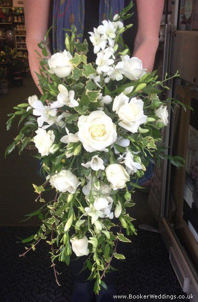 White Cascading Shower Bouquet for Bride