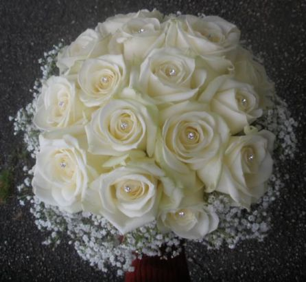 Classic Posy of White Roses and Gyp